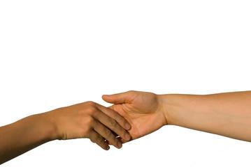 Hand geben; helfende Geste