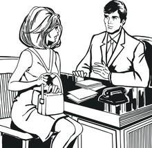 Illustration avec un couple dans le bureau