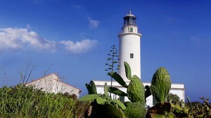 Formentera La Mola lighthouse in the blue Mediterranean sea