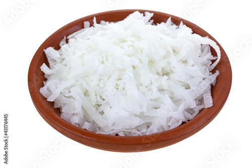 Shredded coconut in bowl