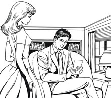 Ilustracji z para w biurze