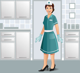 A cheerful nurse in uniform in a clinic