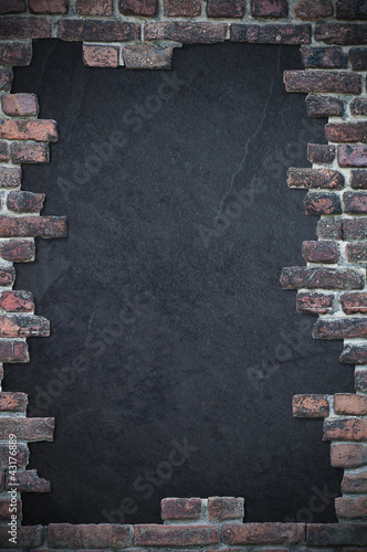 brick stone wall with dark text space