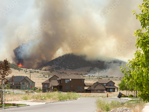 Wild fire or forrest fire endangers neighborhood - 43177244