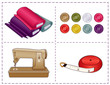 Sewing machine, tape measure, cloth, buttons, sew, tailor, diy