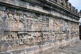 Reliefs of Borobudur temple in Java Indonesia