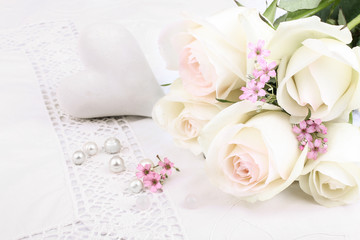 White roses with heart and perls