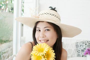 Close up Asian lady.