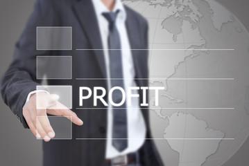 Businessman pushing Profit word on the whiteboard.