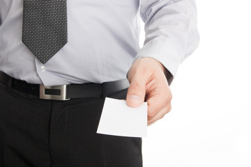 Businessman holding empty business card in his hand
