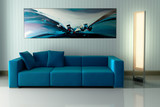 Blue Couch with an Artwork