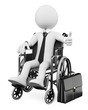 3D business white people. Handicapped businessman