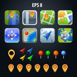 set of GPS vector icons with colorful pin
