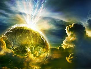 Big lightning hit planet  in dark cloud sky