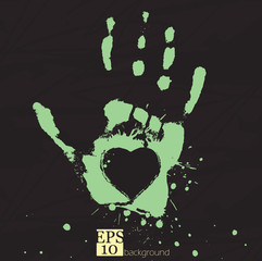 Hand with heart, concept of people's feelings and help