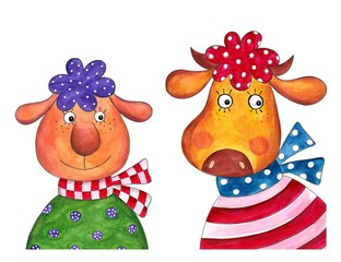 Sheep and cow. Cartoon characters