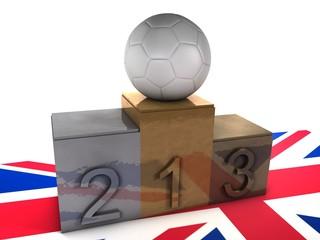 podium olimpico con balón de fútbol