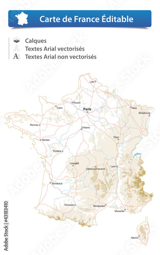 Carte de France Éditable