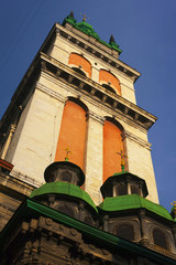 The baroque style bell tower (Lviv, Ukraine).