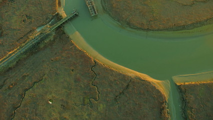 Aerial view of swing bridge constructed over salt ponds
