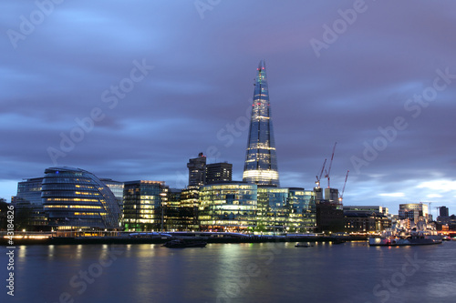 New London city hall at night , panoramic view from river.