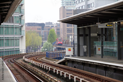 A Docklands Light Rail station in new London City