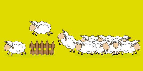 stickers. ovejas saltando una valla