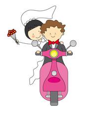 Invitación boda. Novios en moto