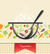 plate with vegetable, food background vector illustration