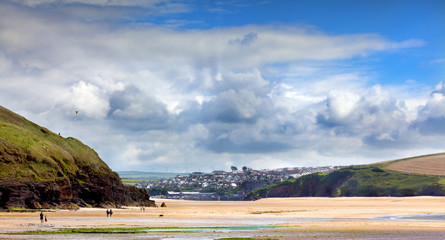 Beach landscape at Daymer bay in Cornwall UK