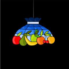 lampadario con frutta decorata