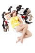 beautiful young woman in shoe paradise (on white with shadows)