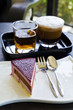 Mixed berry cheese cake with coffee