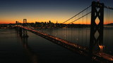 Aerial sunset view of the Oakland Bay Bridge, USA