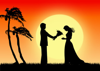 Young man giving a flower bouquet to beautiful girl,vector image