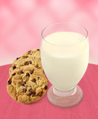 Milk and Cookies - Pink Background