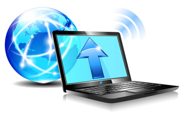 Upload to the internet cloud Icon - Laptop global World