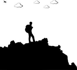 Mountain climbing, hiking man with rucksacks silhouette