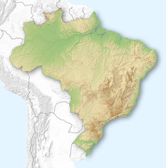 Relief map of Brazil