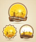 Fototapety Set of windmills labels. Vector illustration