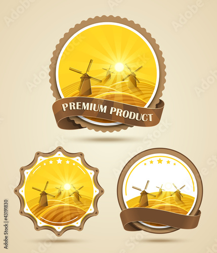 Set of windmills labels. Vector illustration