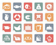 Icons of various kinds of food on stickers