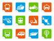 Simple images of transport on stickers