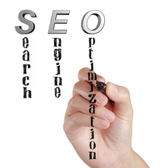Female hand draw SEO Search Engine Optimization
