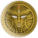Old coin icon with face mask