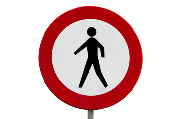 No pedestrians road sign