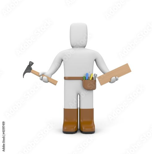 Worker with hammer and plank of wood
