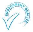 engagement qualité sur tampon validé bleu