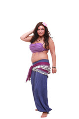 Studio shot of cute belly dancer on white
