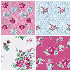 Seamless background Collection - Vintage Flowers - for design an
